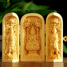 Wood carving hand pieces of ornaments portable shrines three open box wood carving statues Goddess of the three holy crafts