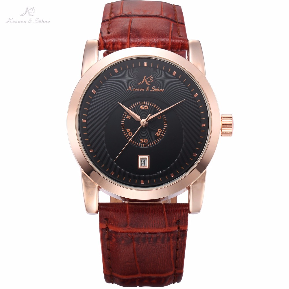 Brand Royal KS Rose Gold Case Automatic Black Dial Men Business Mechanical Watch Date Brown Leather Band Gift Wristwatch / KS329 ks black dial rose gold stainless steel case date display automatic mechanical fluorescence hands leather strap men watch ks234