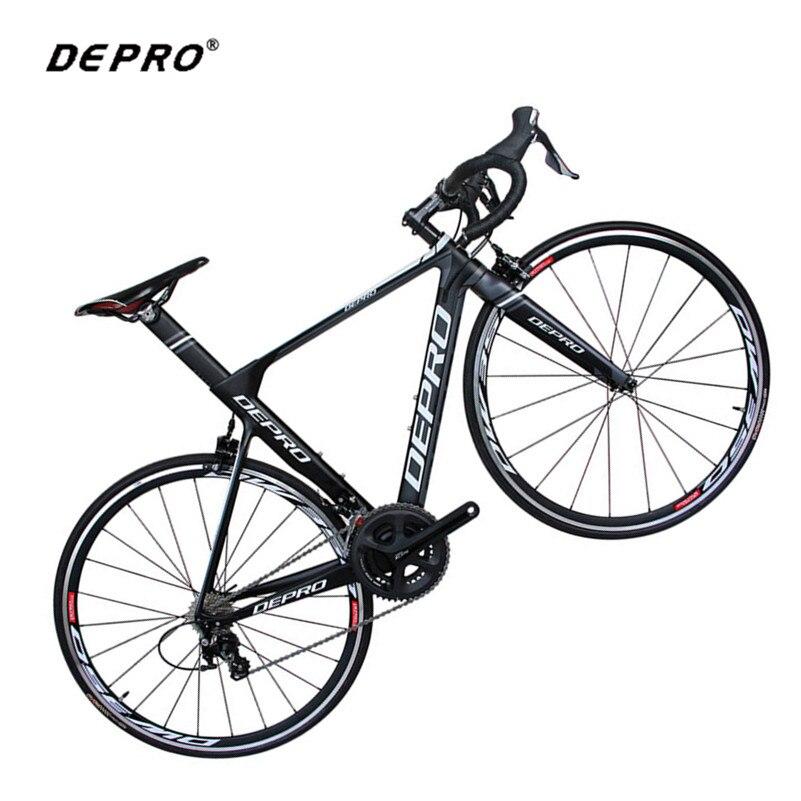 DEPRO vélo de route en carbone 700C 22 vitesses vélo en aluminium ultra-léger en Fiber de carbone fourche vélo de course professionnel V frein vélo de route