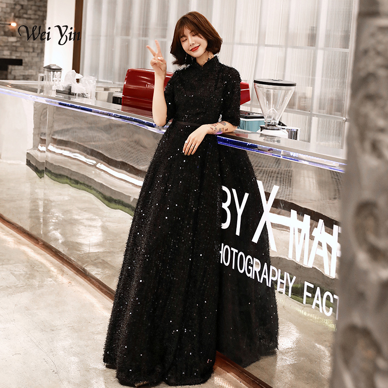 Weiyin Black Muslim Lace Long Evening Dresses 2019 A-line Long Sleeves Dubai Saudi Arabic Long Elegant Evening Gown WY1304