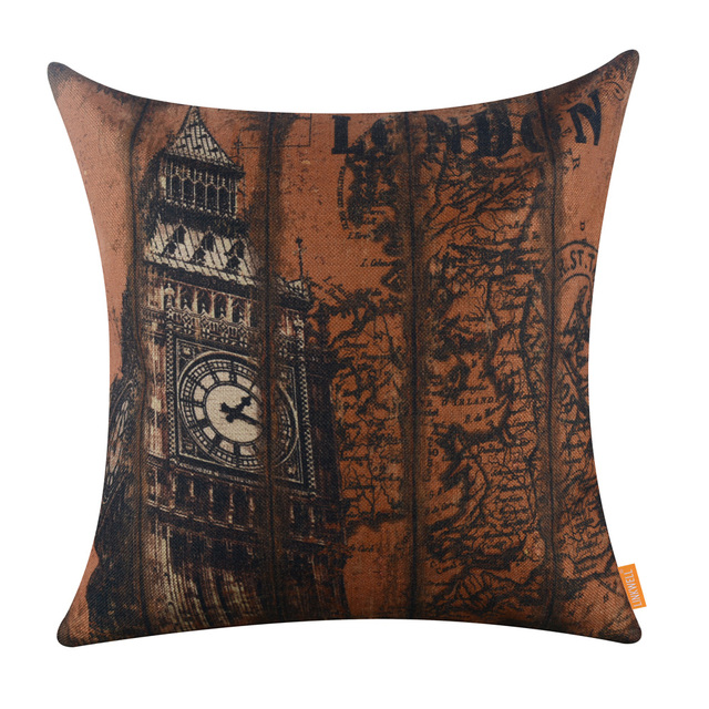 Linkwell 45x45cm vintage world map london big ben famous city linkwell 45x45cm vintage world map london big ben famous city decorative uk pillowcase burlap cushion cover gumiabroncs Images