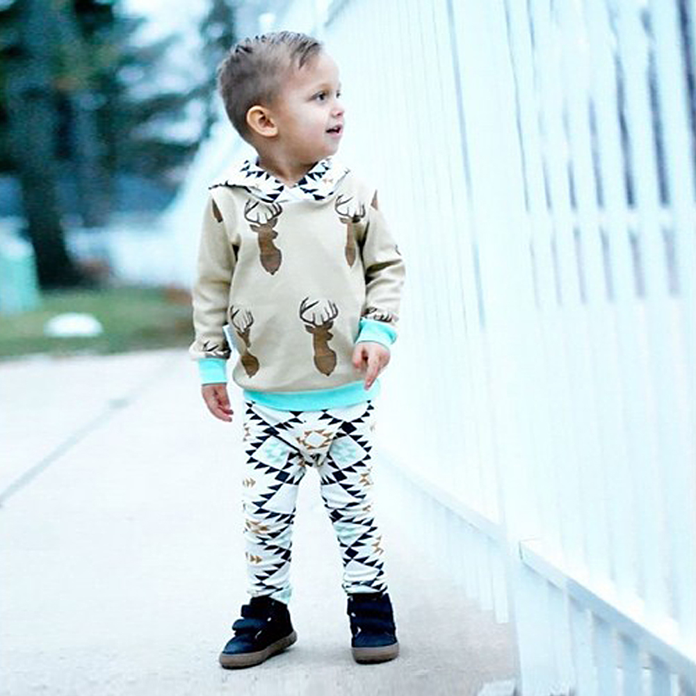2pcs/Set Infant Toddler Baby Girls Boys Clothes Set Deer Long Sleeve Hooded Tops+Jacket Pants Outfit Autumn Winter Clothing Set