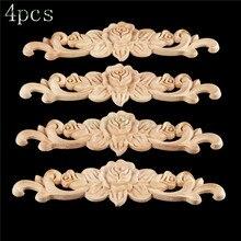 Frame Corner-Angle Decorative Furniture Wood Retro Bowarepro 4PCS Decal Applique Rose