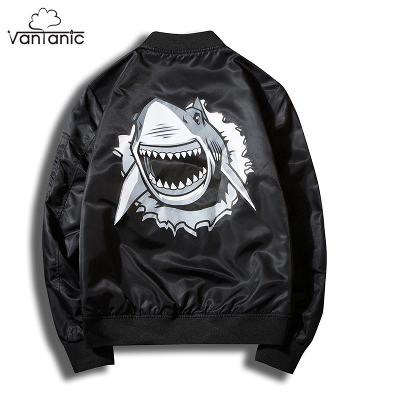 Vantanic Jacket Coat Men Printed Bomber Jacket Pilot Clothing Outerwear Coats Stand Coll ...