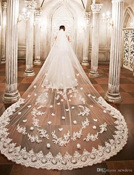 2019 Designed Wedding Veils Cathedral Length Bridal Veils Lace Edge Appliqued One Layers Customized Bridal Veil With Free Comb