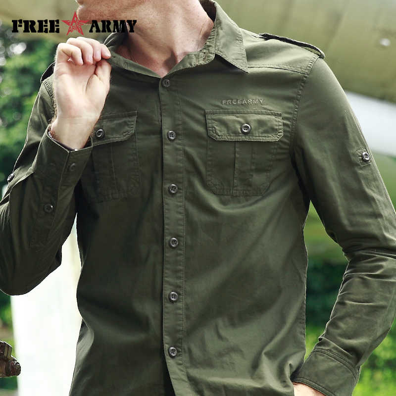 18e14bcd1 ... FREE ARMY High Quality Mens Basic Shirts Casual Slim Fit Men Shirt Long  Sleeve Green Solid ...