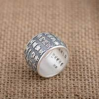 FNJ 925 Silver Buddha Ring Good Luck New Fashion S990 Sterling Thai Silver Rings for Men Jewelry USA Size 8 11.5