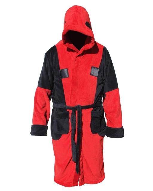 Deadpool Red&Black Men\'s Hooded Bathrobe Adult Fleece Dressing Gown ...