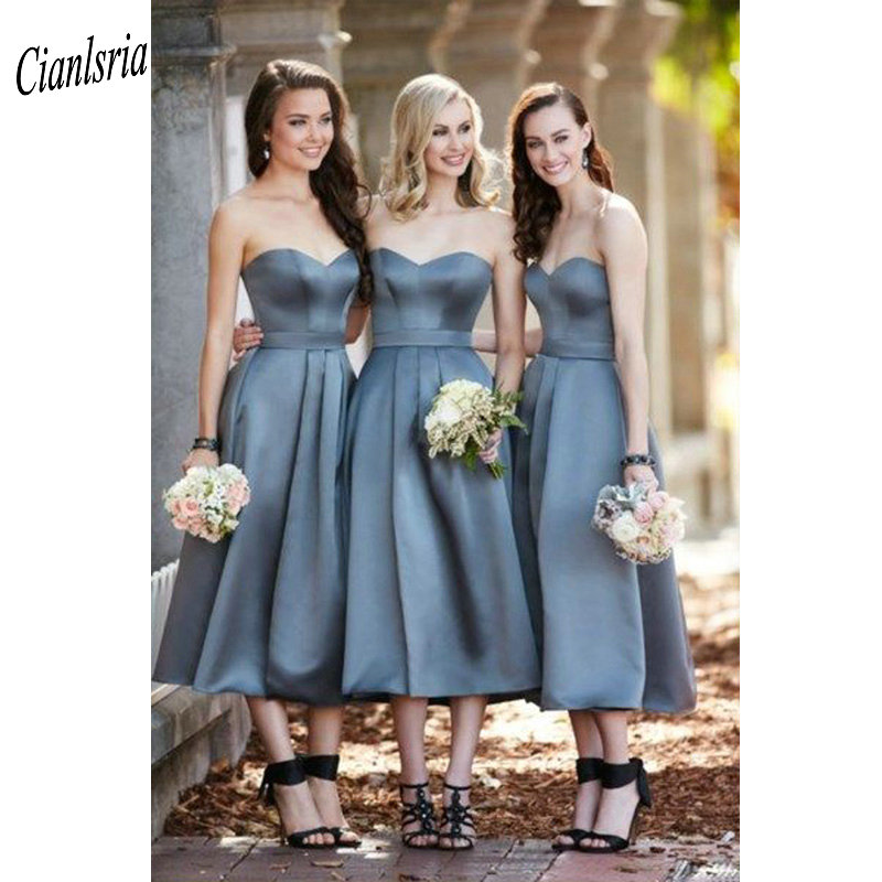 Cheap Sleeveless Tea-Length   Bridesmaid     Dresses   Sashes Sweetheart Short Wedding Guest   Dress   For Wedding Party robe demoiselle