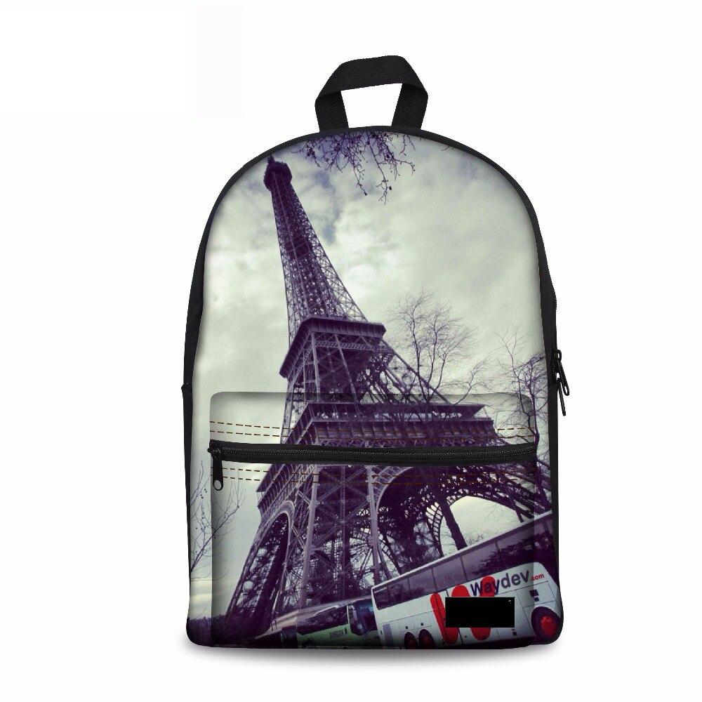 Noisydesigns Canva School Bag Backpack 3D Eiffel Tower Printing Women Backpacks Adolescent Girl Female Back Pack Casual Rucksack
