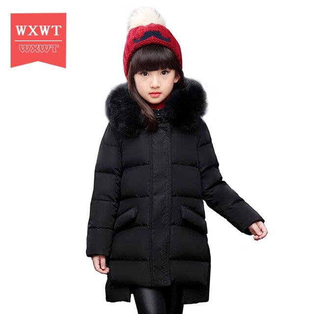 Wxwt Пуховики для девочек Брендовая детская большая девочка длинные Пух куртка пальто зимние Утепленные hooed натуральный меховой воротник 6-12A