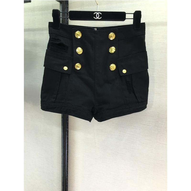 High end boutique fashion women's casual shorts metal button design 1:1 custom Bal*