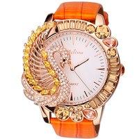 Melissa wspaniała biżuteria zegarki dla kobiet spersonalizowane duży rozmiar Rhinestone Swan zegarek 3D zwierząt prawdziwej skóry Montre Femme w Zegarki damskie od Zegarki na