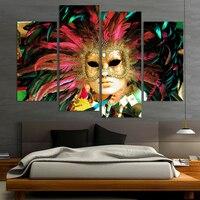 4 panel/ustawić Kolor Maska Twarzy Poste z dancer Home Decor streszczenie płótnie malarstwo ścienne dla pokoju gościnnego prezenty biznesowe naklejki hurtowych