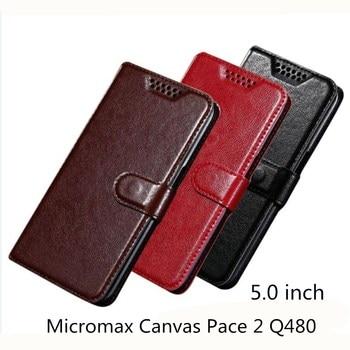 Funda de cuero PU con tapa de lujo para teléfono funda de bolsa para Micromax Canvas Pace 2 Q480