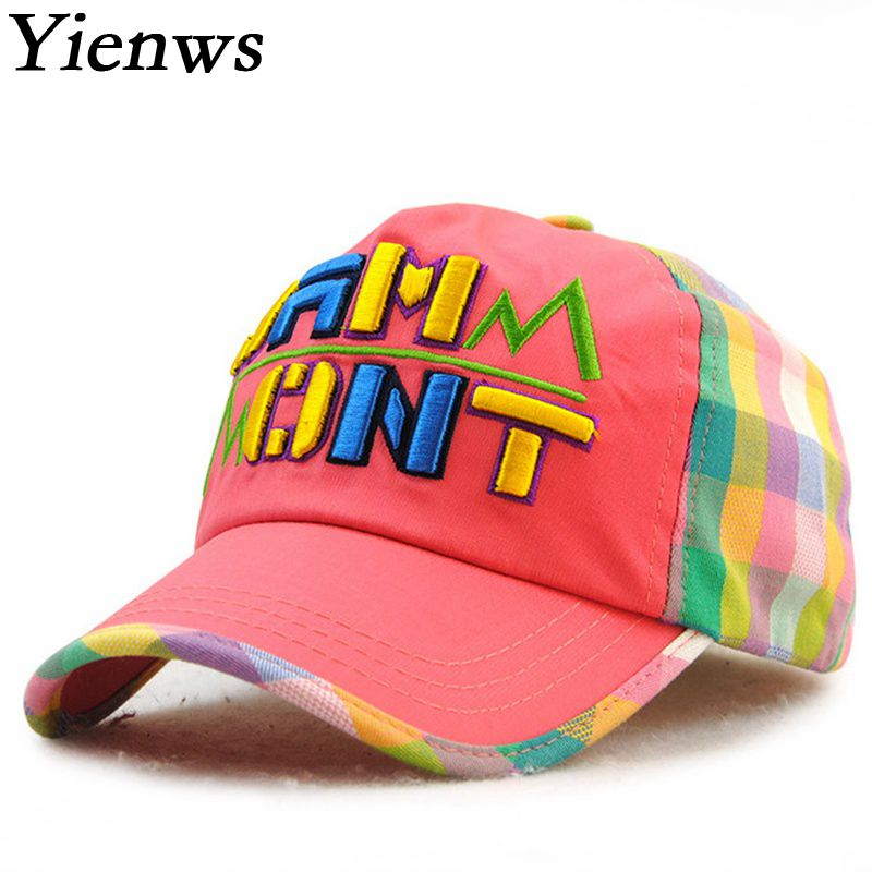 Yienws Bone Five Panel Kids Baseball Cap Kpop Patch Plaid Colourful Cute Baseball Hat For Boy Girl YIC491