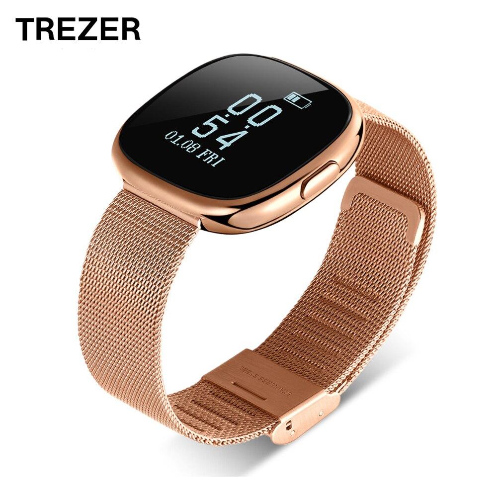 TREZER P2 Smart Bracelet Heart Rate Monitor Smart Wristband Blood Pressure Pedometer Stainless Steel Fitness Tracker Wristwatch