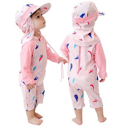 Swimsuit For Girls Kids 2019 Children's Swimwear Girl Swimming Suit Bathing Suits Child Baby Long Sleeve 0 1-3 4 8 Years Animal