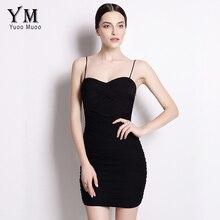 YuooMuoo 2016 Yeni Seksi Bodycon Elbise Hanımefendiler Küçük Siyah Elbise Spagetti Askı Kulübü Mini Elbise Sundress Sıcak Satış Bayan Giyim
