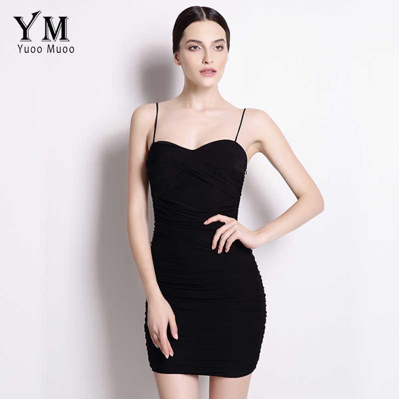 10256c5ebcd6 YuooMuoo Новое сексуальное облегающее платье женское маленькое черное платье  с бретельками клубное мини-платье сарафан