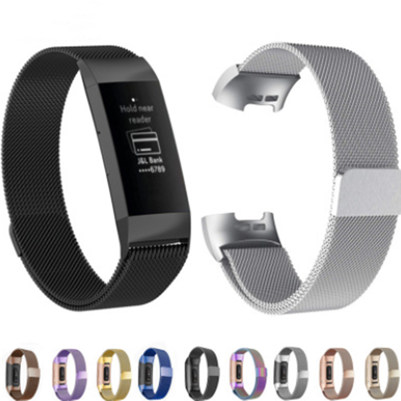 Suitable for Fitbit Charge3 Milan Straps For  Charge3 Milanese Magnetic Metal Loop Steel Belt