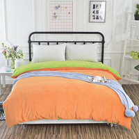 New Orange green double color Duvet Cover comfortable zipper Bedding Simple style bed sack solid color soft quilt cover