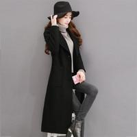 2018 Female Elegant Autumn Winter Wool Coat Single Breasted Maxi Woolen Coats Women Over Knee Long Parka Jacket