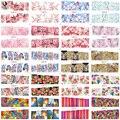 48 Folhas de Desenhos de Flores Pintura A Óleo Animal do Leopardo Nail Stickers Transferência de Água Decalques Da Arte Do Prego Beleza Completa Wraps BN073-120