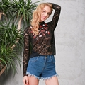 Simplee Floral embroidery lace blouse shirt Sexy long sleeve black blouse Women tops Summer 2017 new transparent blusas female