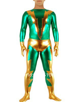 Flash-Green & Gold Shiny Metallic Tight Zentai Suit Catsuit
