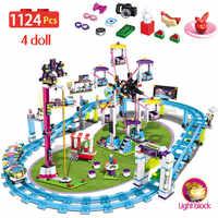 1124 Uds. Bloques de niñas compatibles con legotely Friends Parque de Atracciones Roller posavasos de figura modelo de construcción juguetes hobbies niños
