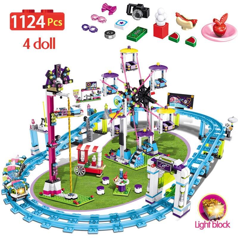 1124pcs Meninas Blocos Compatíveis Legoingly Amigos Figura Brinquedos Modelo De Construção Hobbie Crianças Parque De Diversões Montanha Russa