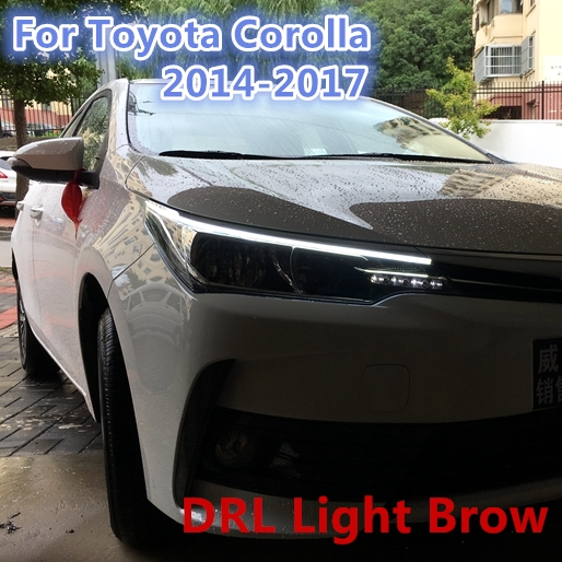 light brow LED DRL for Toyota Corolla 2014 2015 2016 2017 New Altis Eye Brow Light LED External Lamp Signal Parking Accessories akd car styling led drl for toyota reiz 2012 2013 mark x eye brow light led external lamp signal parking accessories