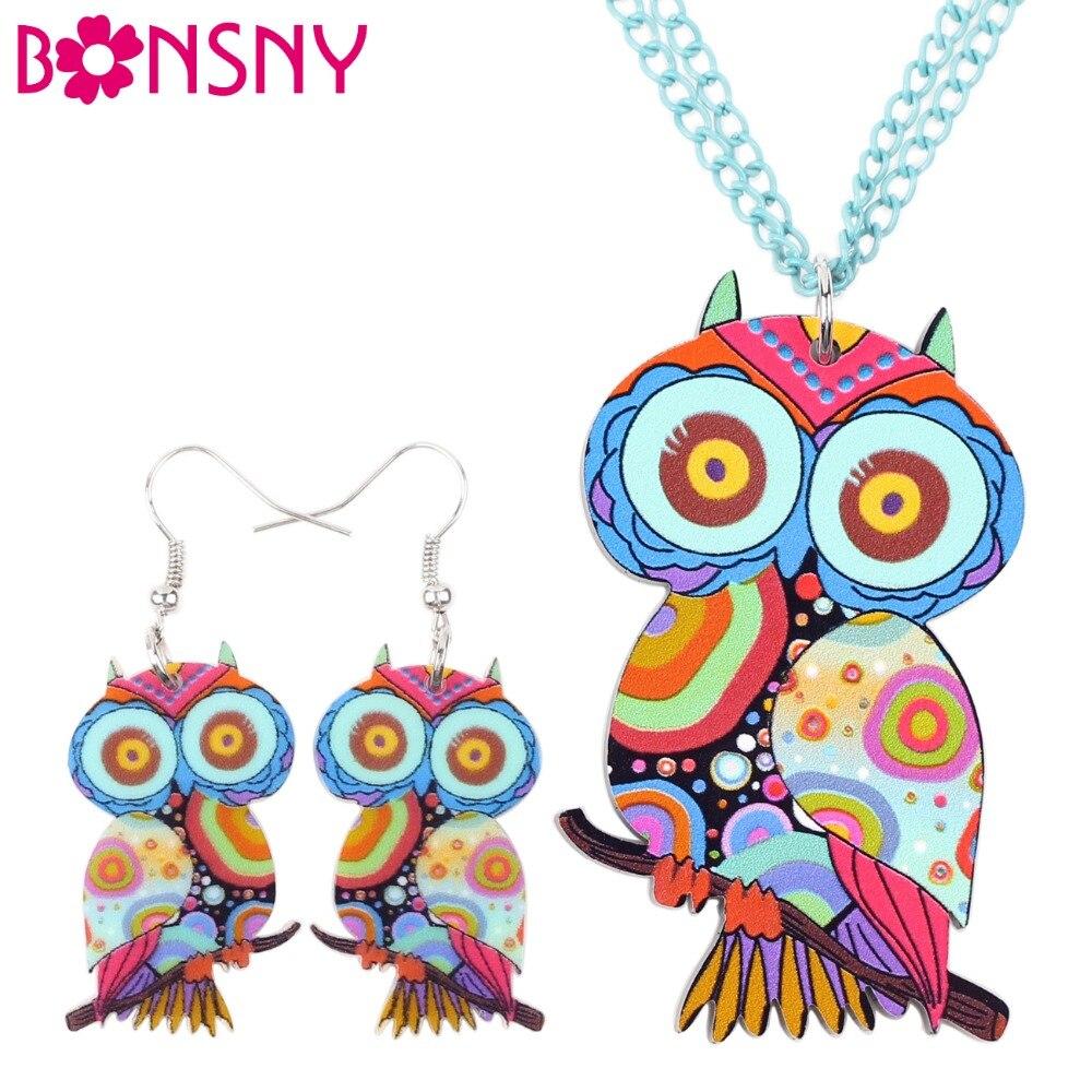 Bonsny Brand Jewelry Sets Acrylic Owl Necklace Earrings Bird Choker Collar Fashion Jewelry 2016 News Spring