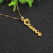 Golden Plated Custom Nameplate Necklace 925 Solid Silver Women Engraved Name Necklace Fashion Women Necklace Box