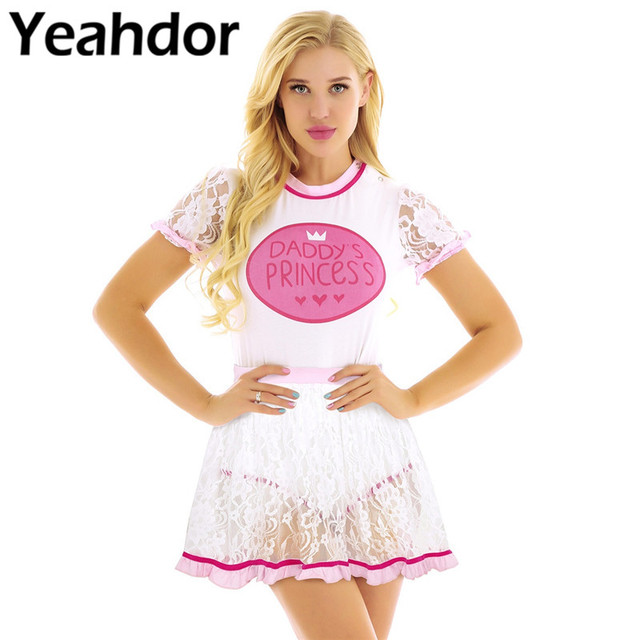 2Pcs Adult Women Short Lace Sleeves One Piece Diaper Lovers Romper Jumpsuit Bodysuit Age Players Cosplay with Ruffled Lace Skirt