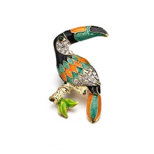 Fashion Toucan Bird Brooches Colorful Enamel Rhinestone Crystal For Women Trend Brooch Pins Jewelry Accessory Gift