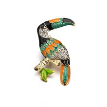 Fashion Toucan Bird Brooches Colorful Enamel Rhinestone Crystal For Women Trend Bird Brooch Pins Jewelry Accessory Gift(China)