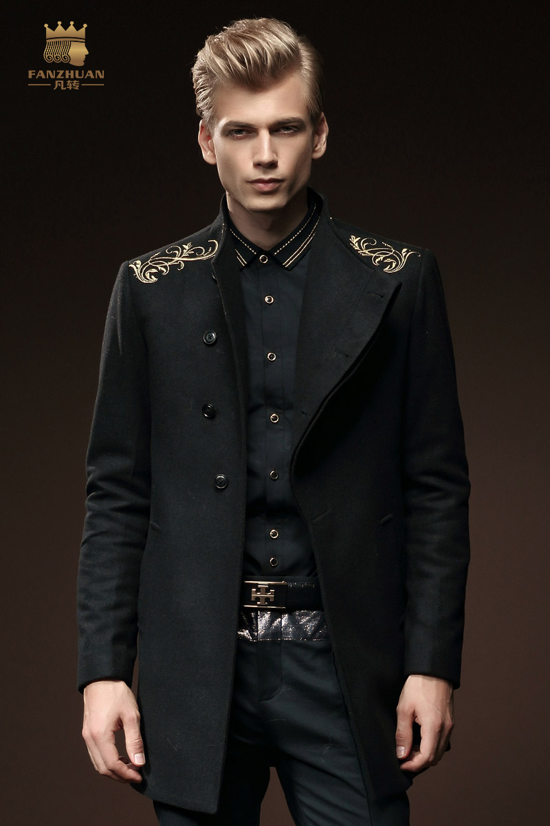 Free Shipping New male winter slim wool coat wool hoodless stand collar single breasted embroidered outerwear 0084 On Sale coat