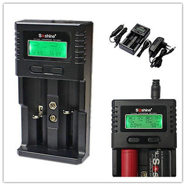 Soshine H2 LCD carregador de bateria AA AAA 14500 26650 9 V bateria Desulfator 18650 carregador ue + cabo USB + carregador de carro