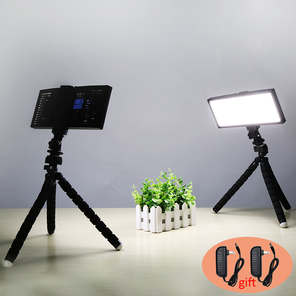 VILTROX L132T Photo Studio Set 2x Bi-Color Dimmable DSLR LED Video Light+2x Octopus Tripod+2x 2M AC Adapter for Photography image