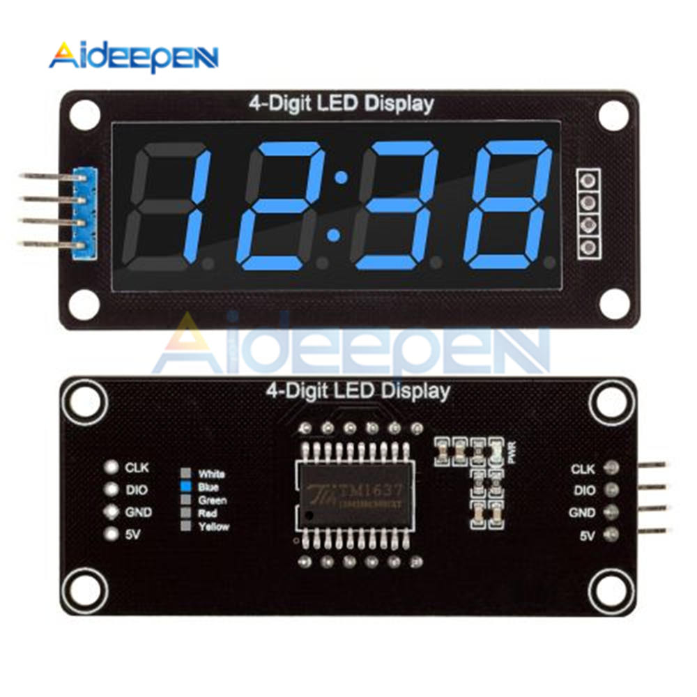 US $1 24 20% OFF|TM1637 4 Digit LED 0 56 Inch Display LCD Screen Tube 7  Segments Blue Display Clock Double Dots Module For Arduino Board-in  Instrument
