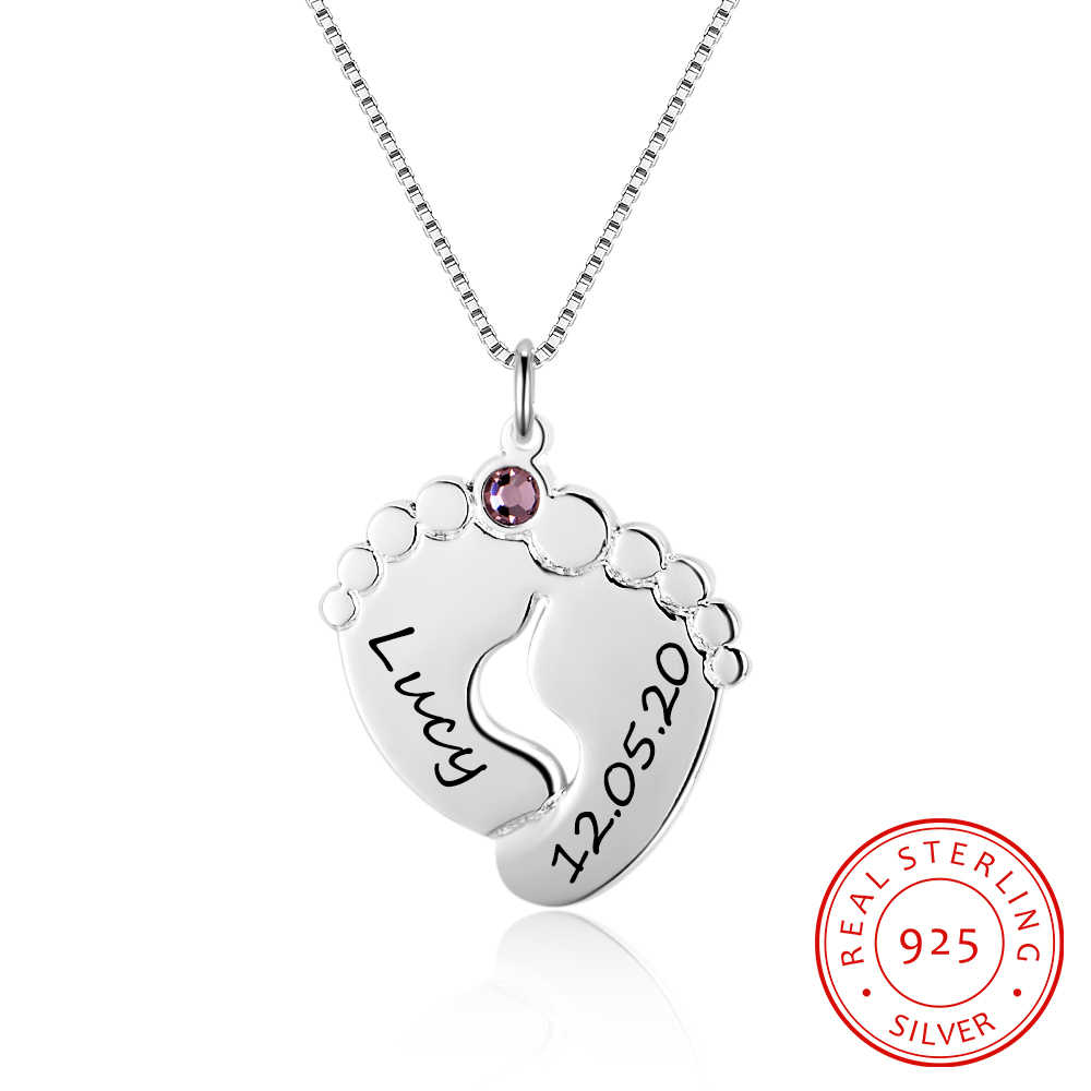 Cute Baby Foot Necklace 925 Sterling Silver Anniversary Jewelry Lovely Pendant DIY Birthstone Personalize Unique Gift For Mother