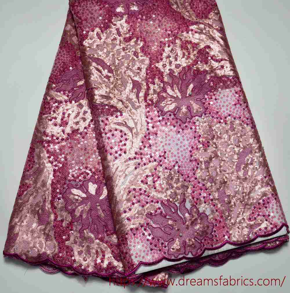 Latest High Quality Nigeria design African Tulle lace Fushia Pink Tulle wedding lace fabric 5 yards