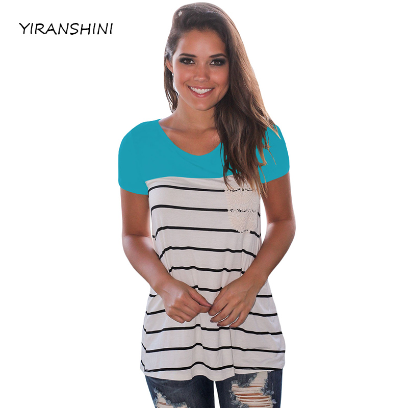 YIRANSHINI Summer New Sexy Lady Short Sleeve O-Round Neck Blue Striped Printed Casual Womens T-shirt LC250067-2