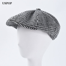 USPOP 2019 Autumn winter hats women men berets unisex newsboy caps plaid visor