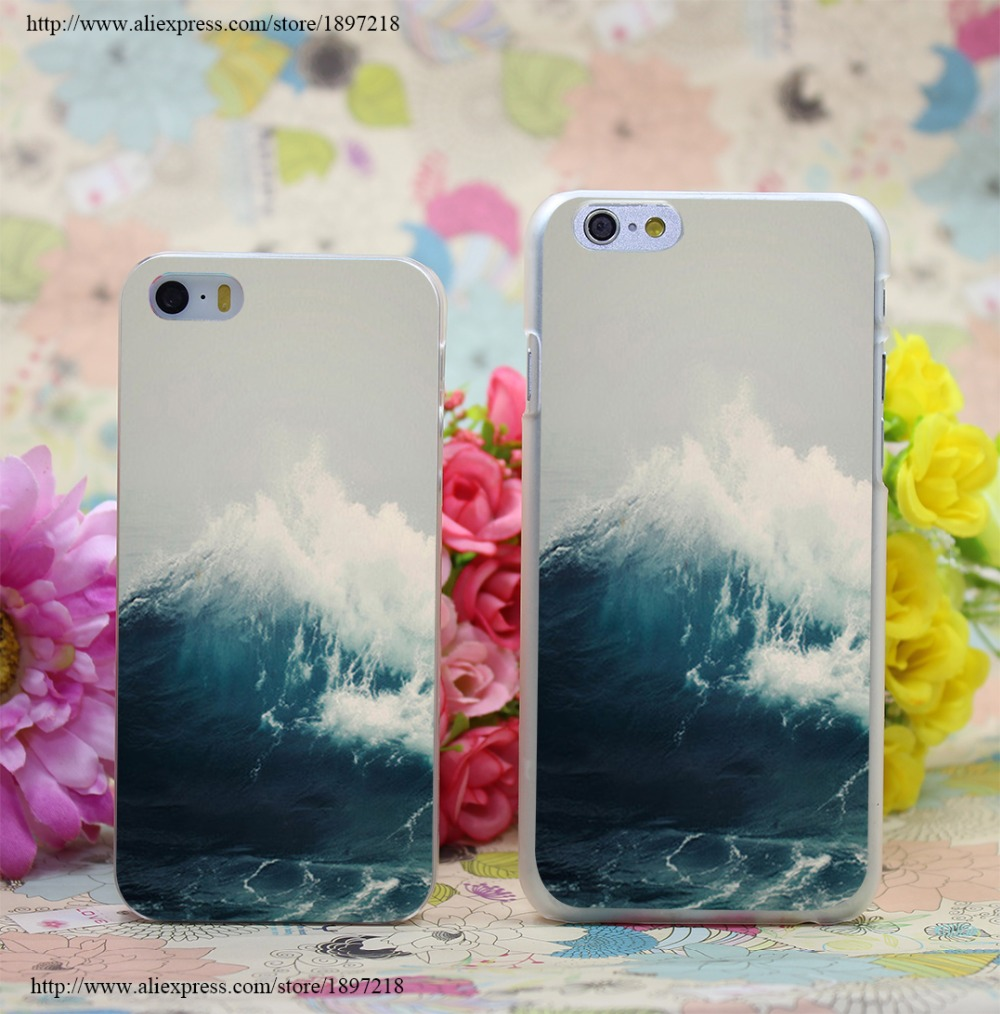2683W Sea Wave Transparent Hard Case Cover for iphone 7 7 Plus 6 6s plus 4 4s 5 5s SE 5c