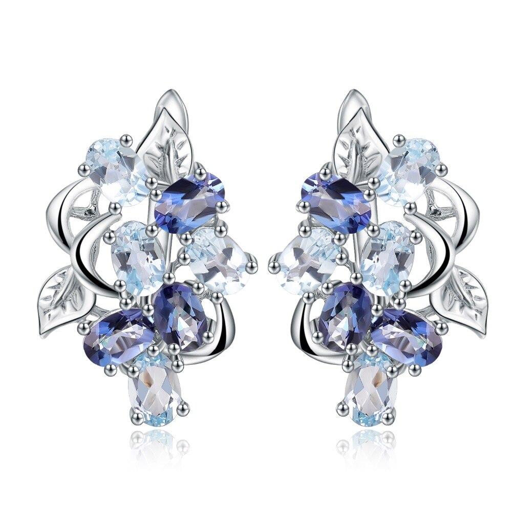 Gem's Ballet Natural Sky Blue Topaz Mystic Quartz Flower Stud Earrings 925 Sterling Silver Earrings For Women Fine Gift