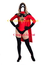 Captain Marvel Cosplay Halloween Costumes for Women with Cape