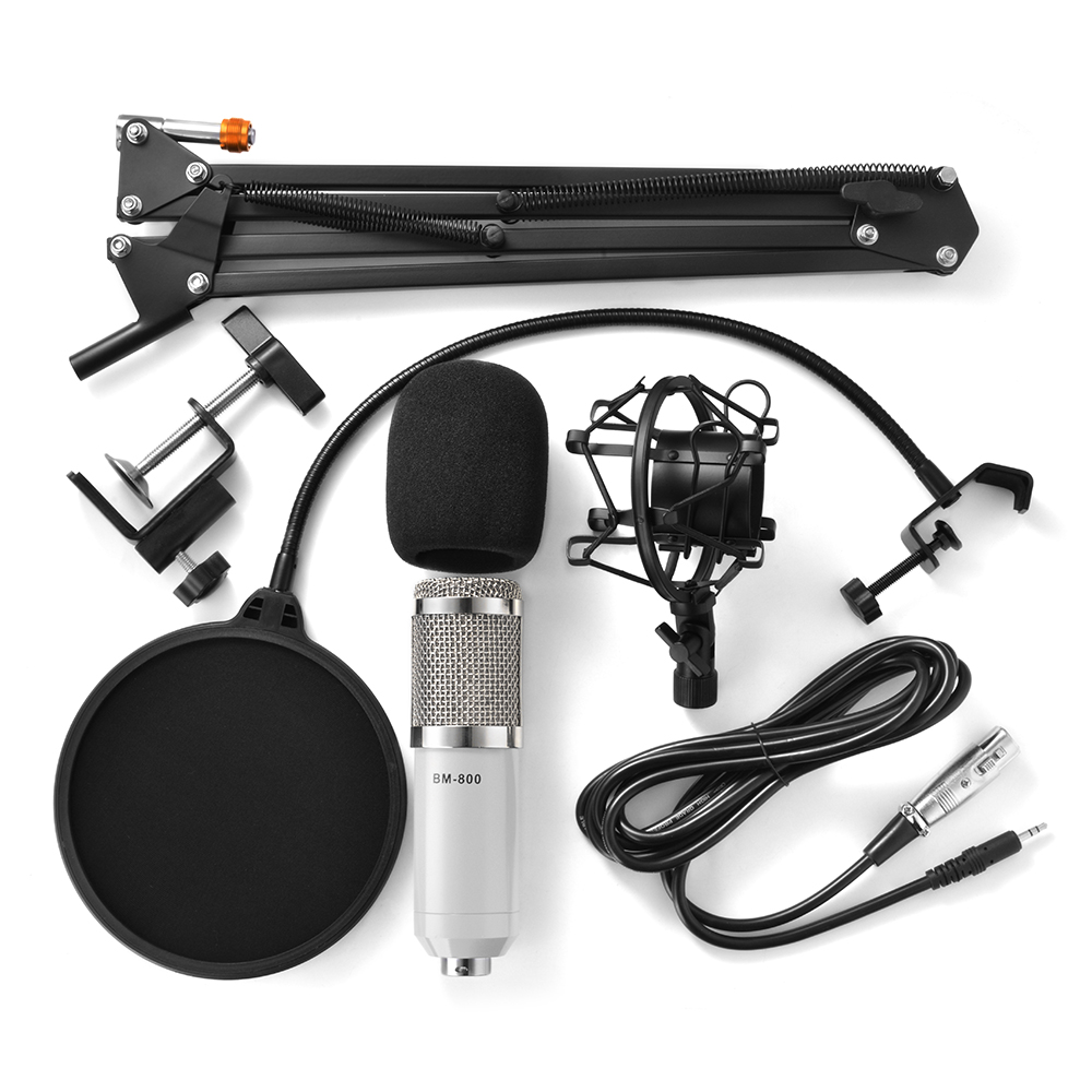 BM-800 Sound Recording Condenser Sound Studio Recording Broadcasting Microphone + Shock Mount Holder White TH593